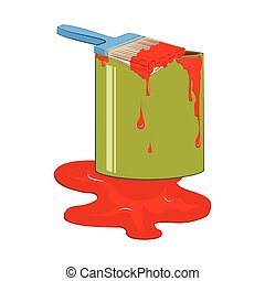 Bucket red paint with dripping paintbrush. Vector...
