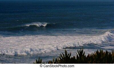 echte, Riesig, langsam,  4x, portugiesisch, Küsten,  -, Bewegung, Wellen,  100fps