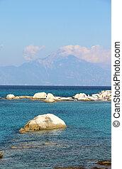 Orange beach, Chalkidiki, Sithonia, Greece with view on...