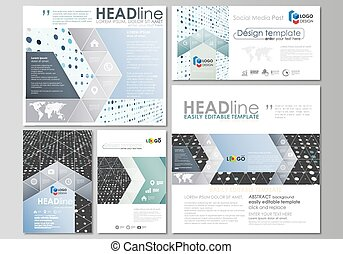 Social media posts set. Business templates. Flat style template, layouts in popular formats. Soft color dots with illusion of depth and perspective, dotted background. Modern elegant vector design.
