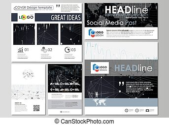 Social media posts set. Business templates. Vector layouts...