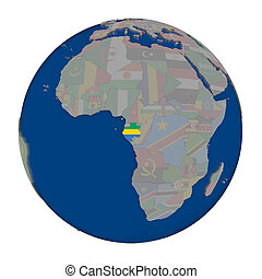 Gabon on political globe - Gabon with embedded national flag...