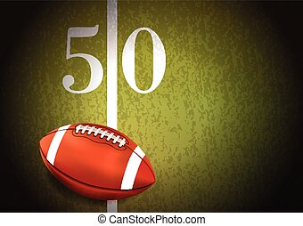 American Football on Turf Field Illustration - A realistic...