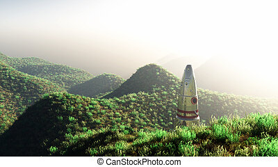 space rocket between mountains - 3d illustration of a space...