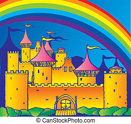 Castle. - An ancient castle and a rainbow. Vector...