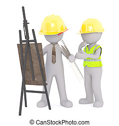 3D rendering of construction workers in hard hats and...