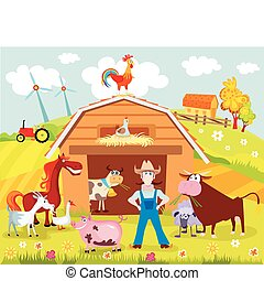 farm - vector illustration of a farm