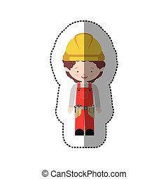 sticker avatar worker with toolkit and curly hair vector...