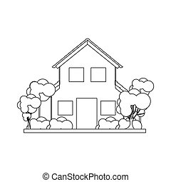 silhouette house with two floors and trees vector...