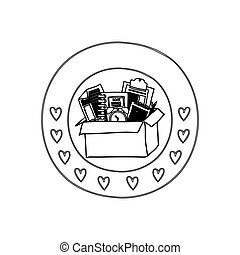 silhouette circular border with hearts and box with study tools