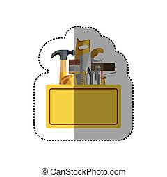 sticker toolkit inside of wooden box shading vector...