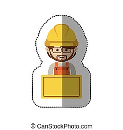 sticker half body avatar worker with toolkit and glasses ....