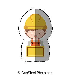 sticker half body avatar worker with toolkit and plaque...
