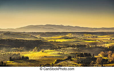 Maremma, rural sunrise landscape. Countryside old farm and green field. Tuscany, Italy.