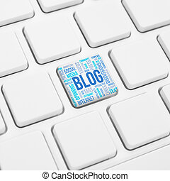 concept, mot, bouton,  blog, clé, clavier, ou, nuage