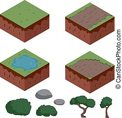Set of cartoon isometric ground elements for games. vector