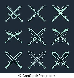 Set of heraldic swords and sabres for heraldry design vector...