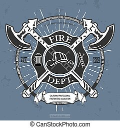 Fire Dept. Label. Helmet with Crossed Axes T-shirt Graphics. Vector