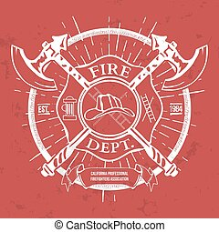 Fire Dept. Label. Helmet with Crossed Axes T-shirt Graphics....