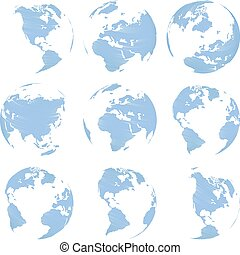 Set of nine Vector abstract globe isolated on white...