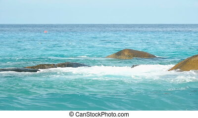 Turquoise rolling wave, slow motion - Turquoise waves rolled...