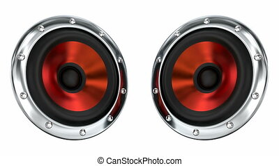 Red sound speakers 3D animation - Red loudspeakers looping...