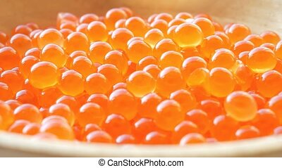 Fresh salmon caviar close-up - Delicious salmon caviar in a...
