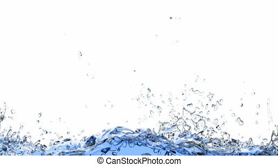 60 fps 3D animation of the splashing water - Screen fills...