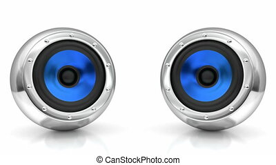 Sound speakers looping 3D animation - Blue drivers...