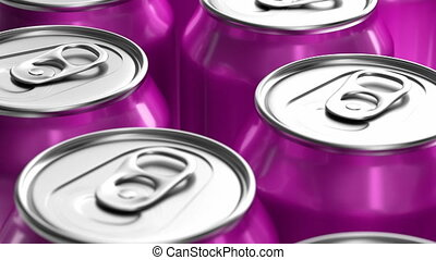 3D looping animation of pink soda cans