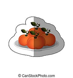 colorful sticker of set collection tangerines fruit vector...