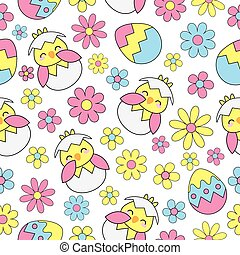 Easter Seamless background with cute chick, eggs and flowers