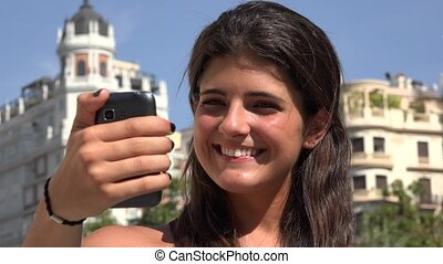 Woman Taking Selfy Fun Travel Photos