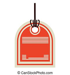 color price tag with side oval shape and orange background