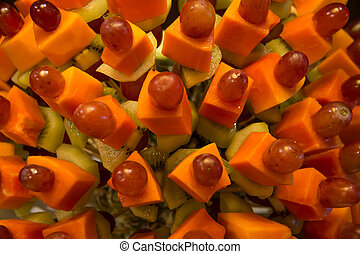 mixed fruit skewer for chocolate fountain