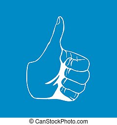Hand Drawn Thumbs up isolated on white background Vector...