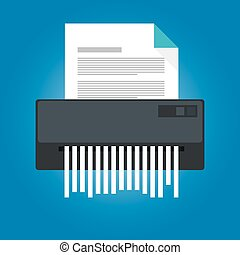 paper shredder icon document business office information...