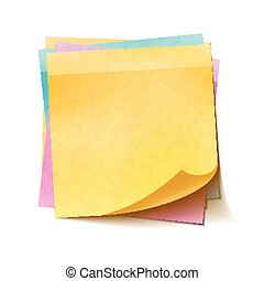 Different colorful sticky notes in pile on white background...