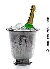 Champagne bottle on ice - Cold bottle of champagne on ice...