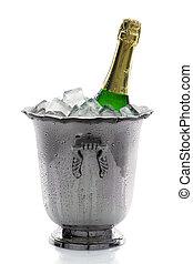 champanhe, garrafa, gelo