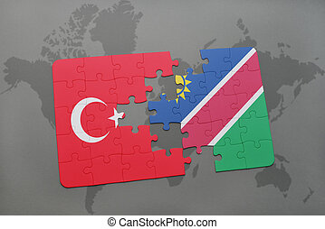 puzzle with the national flag of turkey and namibia on a...