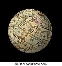 Sphere of American banknotes against black