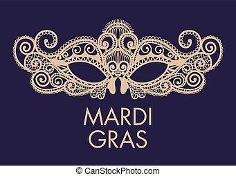 Mardi Gras mask of lace collection set. - Mardi Gras...