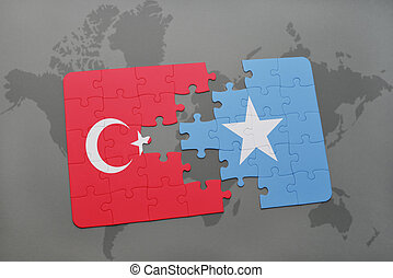 puzzle with the national flag of turkey and somalia on a...
