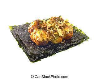japanese snack food close up of takoyaki on white background