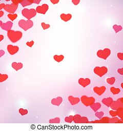 Valentines Day background with scattered blurred tender...