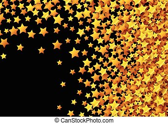 Golden stars glitter scattered on black in celebration card...