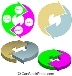 Cycle arrows circle concept set - A set of cycle arrows...
