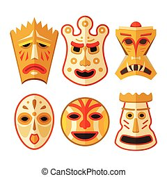 Collection of different wooden voodoo masks isolated on...