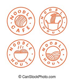 Noodle cafe logotypes. Vector hand drawn badges.